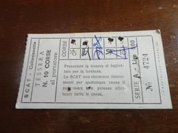 TESSERA 10 CORSE AL PORTATORE-SCAT - CALTANISSETTA-LIRE 500 - Bus