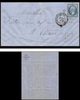 7376 LAC Entete Portallier 1862 N°14B Napoleon 20c TB Pc 4196 Aix Les Bains Savoie St Etienne Loire France Lettre Cover - Marcophilie (Lettres)