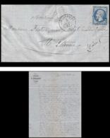7377 LAC Entete Portallier 1862 N°14B Napoleon 20c TB Pc 4196 Aix Les Bains Savoie St Etienne Loire France Lettre Cover - Marcophilie (Lettres)