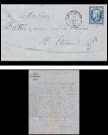 7378 LAC Entete Portallier 1862 N°14B Napoleon 20c Pc 4196 Aix Les Bains Savoie St Etienne Loire France Lettre Cover - Marcophilie (Lettres)