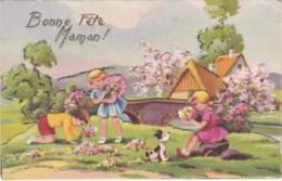 Carte à Système  - Enfants Près D 'une Rivière Qui Ramassent Des Fleurs - Bonne Fête Maman !   (lot Pat 50) - Fête Des Mères