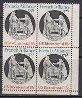 USA 1978 French Alliance 1v Bl Of 4 (corner) ** Mnh (41804D) - Verenigde Staten