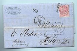 Italie - Bologne Pour Toulon Sur Mer (Var). LAC De 1873. Cachet D'entrée Noir ITALIE / AMB. LYON MARS J - Marcophilie (Lettres)