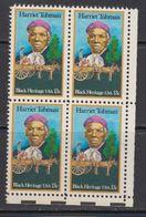 USA 1978 Harriet Tubman 1v  Bl Of 4 ** Mnh (41804F) - Verenigde Staten