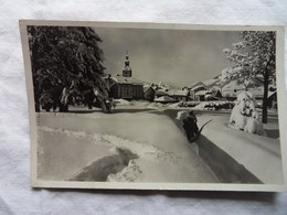 CP 9*14-MEGEVE LE VILLAGE SOUS LA NEIGE 1946 - Megève