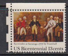 USA 1977 Bicentennial / Surender At Saratoga 1v (corner) ** Mnh (41805A) - Verenigde Staten