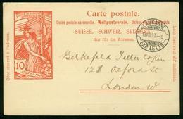 GA Schweiz Ganzsache 1900 - Postkarte MiNr P 33 - Used VOLLSTEMPEL - 25 Jahre Weltpostverein UPU - Interi Postali