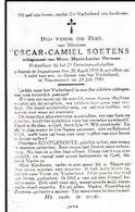 Oorlogsslachtoffer,1945, Oscar Soetens, Herman, Ingooigem, Gesneuveld, Nieuwpoort - Devotieprenten