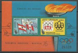 Uruguay,On The Eve Of SOG-Montreal '76 1976.,block,MNH - Uruguay