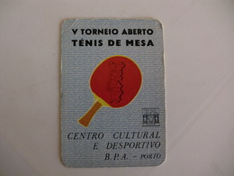 Bank Banque Banco Português Do Atlântico Ténis De Table Tenis De Mesa Ping Pong Portuguese Pocket Calendar 1985 - Calendriers