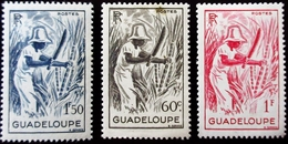 1947 Guadeloupe Yt 200, 201, 202 . Sugar Cane.  Neuf Trace Charnière - Guadeloupe (1884-1947)