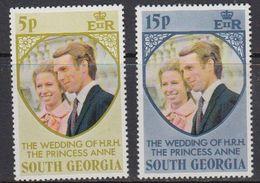 South Georgia 1973 Royal Wedding 2v ** Mnh (41806A) - Zuid-Georgia