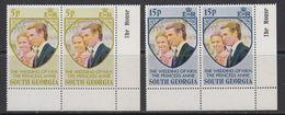 South Georgia 1973 Royal Wedding 2v (pair, Corner) ** Mnh (41806B) - Zuid-Georgia