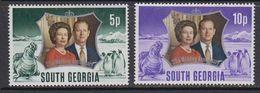 South Georgia 1972 Silver Wedding 2v ** Mnh (41806F) - Zuid-Georgia