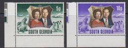 South Georgia 1972 Silver Wedding 2v (corners) ** Mnh (41806G) - Zuid-Georgia