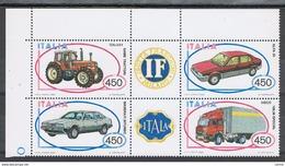 REPUBBLICA:  1984  COSTRUZIONI  ITALIANE  -  S. CPL. 4  VAL. BL. N. -  SASS. 1666/69 - Blocchi & Foglietti