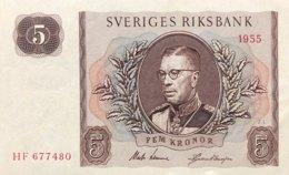 Sweden 5 Kronor, P-42b (1955) - UNC - Suède