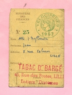 RECEPISSE -  TAXE / IMPOT SUR LES VELOCIPEDES ( BICYCLETTES ) LILLE / 1957 - TABAC DE BARGE 59 LILLE - Documents Historiques