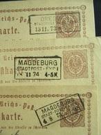 3x Postkarte / Ganzsache - Reichspost - Stempel Stadtpost Dresden U. Magdeburg 1873/1874 - Erhaltung II - Deutschland