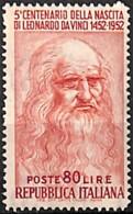 [829844]Italie 1952 - N° 626, 80l Rouge-brun, Léonard De Vinci, **/mnh, Cote 30 Euros, Tableau - Peinture, Célébrité - 1946-.. République