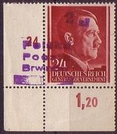 1945 Germany GG Poland Owerprint Brwinow 2 Zl Provisional Printing Margin Corner Mi 17  W1022 - 1939-44: World War Two
