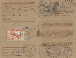 1956- Carte D'Abonnement  De Cognac ( Charente ) TAXE  500 F N° 32 Ad Seul - Marcophilie (Lettres)