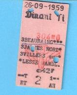 Ticket De Transport-Chemin De Fer-Train-Belgique-België-Dinant-Beauraing-42 FB-Allez/Retour -1959 - Chemins De Fer