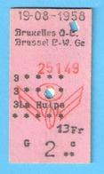 Ticket De Transport-Chemin De Fer-Train-Belgique-België-Bruxelles Q-L-La Hulpe-13 FR- 1958 - Chemins De Fer