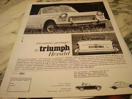 ANCIENNE PUBLICITE VOITURE TRIUMPH HERALD 1966 - Voitures