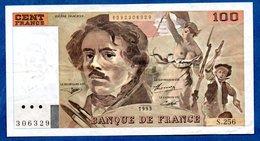 Delacroix -  100 Francs 1993 -  état  TTB - 1962-1997 ''Francs''