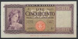 °°° ITALIA - 500 LIRE 15 MARZO 1947 °°° - [ 2] 1946-… : Républic