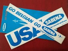 DÉPLIANT SABENA AIR ROUTES ÉPOQUE OÙ CONGO S APPELAIT ZAÏRE + 2 VIEUX AUTOCOLLANTS PUBLICITÉS SABENA BELGIQUE - Aviazione Commerciale