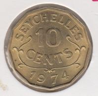 @Y@    Seychellen  10   Cents  1974    Unc    (1438) - Seychelles