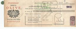 Lettre De Change Du 20 MAI 1946 Fonderie Marcel OLIVE  + Timbre Fiscal - Cambiali