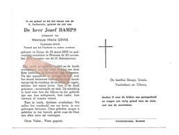 D 643. JOZEF BAMPS - Oudstrijder 1914/18 -Vuurkruis - °DURAS 1892 / +BRUSTEM 1971 - Images Religieuses