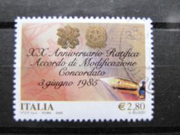 *ITALIA* USATI 2005 - 20° MODIFICAZIONE CONCORDATO - SASSONE 2829 - LUSSO/FIOR DI STAMPA - 6. 1946-.. Repubblica