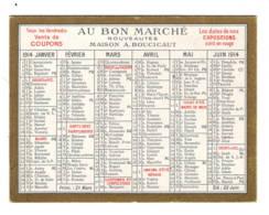 Calendrier 1914  Au Bon Marché - Calendriers