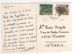 "Timbres , Stamps "" Langouste Yvert N° 378 , Tortue Géante Yvert N° 379 "" Sur Cp , Carte , Postcard ( Pli D'angle ) - Seychelles (1976-...)"