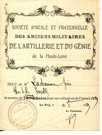 43.HAUTE LOIRE.REÇU DES ANCIENS MILITAIRES DE L'ARTILLERIE & DU GENIE. - Unclassified