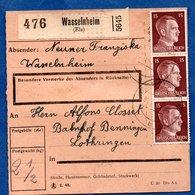 Colis Postal  -  Départ Wasselnheim -  Pour Béning -  16/11/1943 - Allemagne