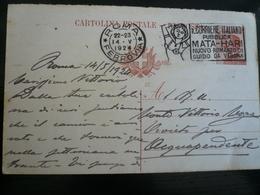 Targhetta Mata Hari  Corriere Italiano Roma Ferrovia 14.V.1924 !!!!! Su CP 30c - Italia