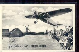 Hoek Van Holland - Groeten Uit - Vliegtuig - Molen - 1935 - Hoek Van Holland