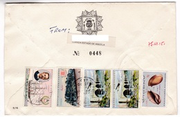 M430 Portugal Angola Lettre Recommandée Registered Letter 1975 Train Pont Bridge - Angola