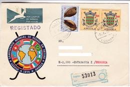 M431 Portugal Angola Lettre Recommandée Registered Letter 1975 Cypraea Stercoraria Linnaeus Crête Crest - Angola