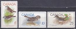 Kanada Canada 1969 Tiere Fauna Animals Vögel Birds Oiseaux Aves Uccelli Ammern Bunting Drosseln Thrush, Mi. 438-0 ** - Unused Stamps