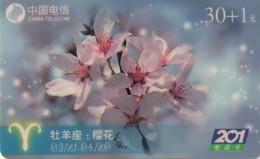 TARJETA TELEFONICA DE CHINA USADA. Zodiac, Wuhan Zodiac Flower 12/3. WDIN(2001-16-(12-3)). (218) - Zodiaco