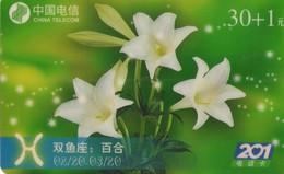TARJETA TELEFONICA DE CHINA USADA. Zodiac, Wuhan Zodiac Flower 12/2. WDIN(2001-16-(12-2)). (220) - Zodiaco
