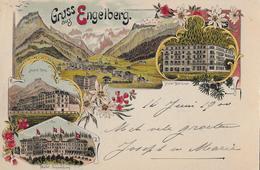 ENGELBERG → Gruss Aus Engelberg, Schöne Mehrbild-Litho Anno 1900 - OW Obwald