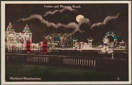 Casino And Pleasure Beach, Blackpool Illuminations, Lancashire, C.1930 - Hutson Brothers Postcard - Blackpool