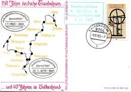 """(DDR-B2) DDR Sonderkarte """"150 Jahre DeutscheEisenbhnen"""", EF Mi 2957, TSt. 1.11.1985 FALKENSTEIN 1 - Briefe U. Dokumente"""